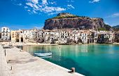 pic of old boat  - Beautiful old harbor with wooden fishing boat in Cefalu - JPG