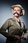 image of safari hat  - Man in safari hat in hunting concept - JPG