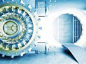 image of vault  - 3d image of huge vault door - JPG