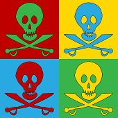 picture of saber-toothed  - Pop art Jolly Roger symbol icons - JPG
