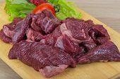 stock photo of deer meat  - Raw wild venison meat  - JPG