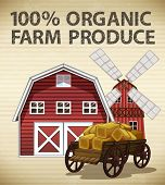 image of windmills  - Organic farm produce with barn and windmill - JPG