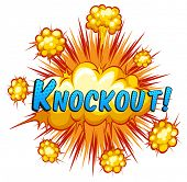 pic of knockout  - Knockout expression with cloud explosion background - JPG