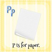 pic of letter p  - Flash card letter P is for paper - JPG