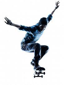 picture of skateboard  - one caucasian man skateboarder skateboarding in silhouette isolated on white background - JPG