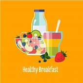 pic of breakfast  - Healthy Breakfast Breakfast concepts French Breakfast and Nutritious Breakfast vector illustration - JPG