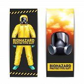 pic of goggles  - Biohazard vertical banners set with worker in protective suit and goggles isolated vector illustration - JPG