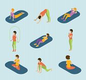 ������, ������: Sports Women Yoga Gym Gymnastics Workout Exercise Flat 3d Web Isometric Infographic Vector