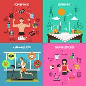 foto of cardio  - Gym design concept set with bodybuilding healthy diet cardio workout weight reduction flat icons isolated vector illustration - JPG