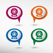 picture of video chat  - Webcam on colorful chat speech bubbles - JPG