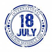 foto of nelson mandela  - illustration of a grungy stamp for International Nelson Mandela Day - JPG