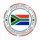 picture of nelson mandela  - illustration of a grungy stamp for International Nelson Mandela Day - JPG