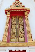 Buddhist Art Always Seen On Door Or Window Of Buddhist Temple And Architecture