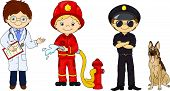 picture of policeman  - Policeman fireman and doctor in their uniform - JPG
