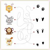 picture of dog tracks  - Deer rabbit monkey and dog with their traces of foot - JPG