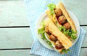 stock photo of meatball  - Homemade Spicy Meatball Sub Sandwich on plate - JPG