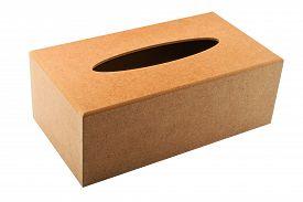 stock photo of tissue box  - Paper tissues replacement handmade wooden dispenser box isolated on white - JPG