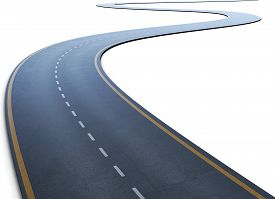 foto of long winding road  - The road with a marking going to a distance on a white - JPG