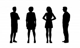 picture of ordinary woman  - silhouettes of ordinary young adult men and women standing outdoor in different postures looking around summertime front and profile views - JPG