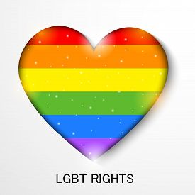 picture of queer  - illustration of beautiful heart fill with LGBT Flag Color for LGBT Rights - JPG