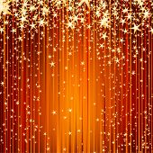 stars descending on a path of golden light  - beautiful Christmas holiday background