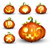 Spooky Vector Pumpkin Set - Different Facial Expressions - EPS10 Compatible