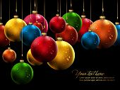 stock photo of christmas-present  - Many Christmas Balls with Shiny Water Drops  - JPG