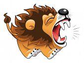 León ladrando. Divertido personaje de dibujos animados y vector