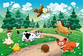 Family of animals with background. Funny cartoon and vector illustration