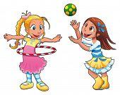 Dos niñas están jugando. Divertidos personajes de dibujos animados y vector