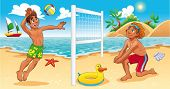 Beach Volley scene. Funny cartoon and vector sport illustration. Isolated objects