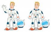 Astronaut in two poses. Funny cartoon and vector isolated character.