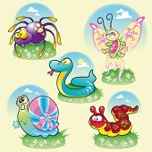 Family of funny animals. Cartoon and vector illustration, isolated objects