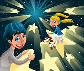 Intergalactic journey on the stars. Funny cartoon and vector illustration