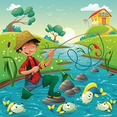 Cartoon scene with fisherman and fish. Vector illustration, isolated objects