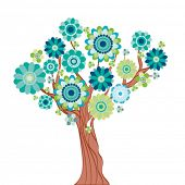 Abstract tree made of flowers. Vector illustration