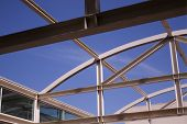 Open Air steel girder roof over University building at UC Davis