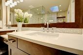 Stunning Master Bathroom Boasts Dark Brown Double Sink Vanity poster