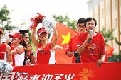 Inner Mongolia,China - JULY 10:  Chinese celebrate during the olympic torch relay for the Beijing 20