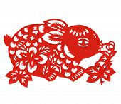 Vector of Paper Cutting Series,Chinese Zodiac Sign(No.4)--RABBIT.
