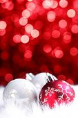 stock photo of christmas party  - christmas ball on abstract light background - JPG