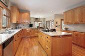 Modern wood kitchen with island