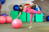 Young Beautiful White Girl In A Pink Sports Suit Does Physical Exercises With A Fit Ball At The Fitn poster