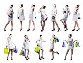 image of rapture  - Young beautiful woman with shopping bags and handbag - JPG