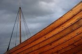 stock photo of viking ship  - Viking ship caught in a stormy weather - JPG