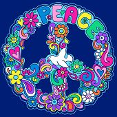Psychedelic Peace Sign Vector Illustration