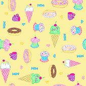 Desserts and Sweets Seamless Repeat Pattern Vector Illustration