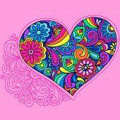 Ilustração em vetor Groovy coração psicodélico