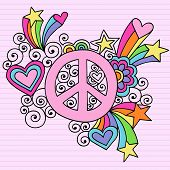 Hand-Drawn Psychedelic Groovy Peace Sign Notebook Doodles on Lined Paper Background- Vector Illustra