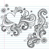 Hand-Drawn Abstract Hearts and Swirls Sketchy Notebook Doodles Vector Illustration on Lined Sketchbook Paper Background